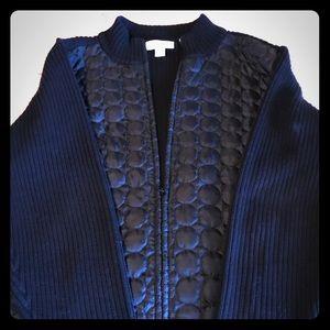 CJ Banks black zippered puff and ribbed jacket.